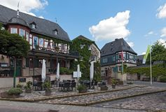 Half timbered house on market square in kiedrich germany.  royalty free stock image