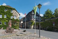Half timbered house on market square in kiedrich germany.  royalty free stock photography