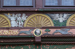 Half-timbered house in Paderborn, Germany. Detail of a wooden facade of the half-timbered house in Paderborn, Germany Stock Images