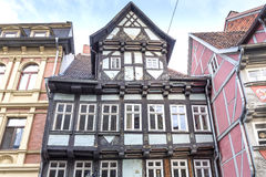 Half-timbered house in Quedlinburg town, Germany Stock Images