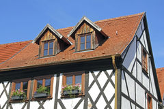 Half-timbered house in Tangermuende Royalty Free Stock Images
