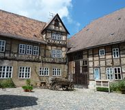 Half-timbered house to be renovated. One of the many half-timbered houses in Quedlinburg which is being restored Stock Photo