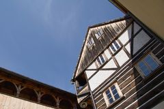 An half-timbered house in the town Ustek Stock Images