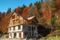 Half-timbered house under construction Royalty Free Stock Photo