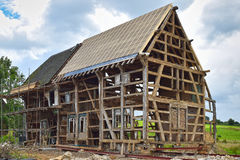 Half-timbered house under reconstruction Royalty Free Stock Image