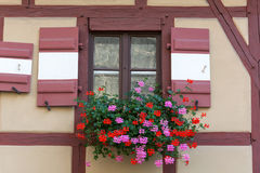 Half-timbered house with window shutters and flowers Stock Image