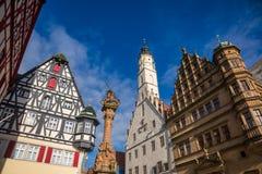 Free Half-timbered Houses And Rathaus Buildings At Marktplatz Rothenburg Ob Der Tauber Old Town Bavaria Germany Stock Image - 161799071