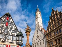 Free Half-timbered Houses And Rathaus Buildings At Marktplatz Rothenburg Ob Der Tauber Old Town Bavaria Germany Royalty Free Stock Photo - 161876695