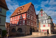 Free Half-timbered Houses At Marktplatz Rothenburg Ob Der Tauber Old Town Bavaria Germany Royalty Free Stock Photography - 161798997