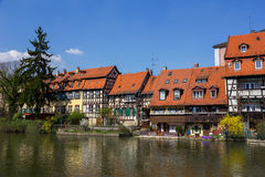 Half-timbered houses on a bank of stream in Bamberg, Germany. Royalty Free Stock Photography