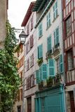 Half timbered houses at Bayonne Stock Images