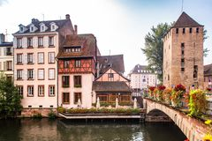 Half-timbered houses and canal seen from Strasbourg France stock photos
