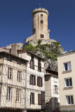 Half-Timbered Houses and Castle of Foix stock photography