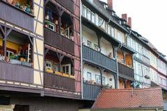 Half-timbered houses at Chandler bridge in Erfurt Royalty Free Stock Images