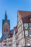 Half-timbered houses and church tower in Hannover Stock Photo
