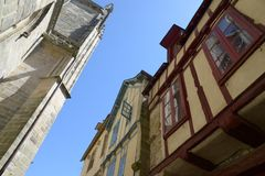 Half-timbered houses in Brittany stock photos