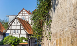 Half-timbered houses and city wall in Minden Royalty Free Stock Photos