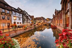 Autumnal morning in Colmar. Half-timbered houses in the fishmonger`s district at autumnal morning in Colmar, Alsace, France Royalty Free Stock Photos