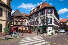 Half-timbered houses in the historic center of Obernai in Alsace. Stock Image