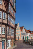 Half timbered houses at the historical harbor of Stade Stock Photography