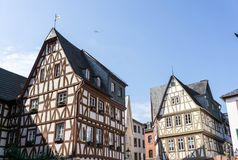 Half-timbered houses at the Kirschgarten in Mainz Rhineland-Palatinate, Germany. Half-timbered houses at the Kirschgarten in Mainz Rhineland-Palatinate , Germany royalty free stock images
