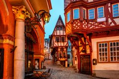 Half-timbered houses in medieval Old Town of Bernkastel, Moselle valley, Germany royalty free stock images