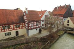 Half-timbered houses in Nordlingen Royalty Free Stock Photo