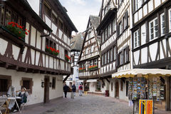 Half-timbered houses in the Petite-France district. Petite-France (Little France) is an area located on the Grand Island, where the river Ill splits up into a royalty free stock images