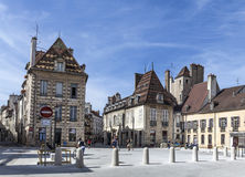 Half timbered  houses at Place Cordeliers in Dijon, Burgundy, Fr Stock Photo