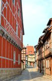 Half-timbered houses in Quedlinburg Stock Photo