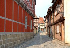 Half-timbered houses in Quedlinburg Stock Images