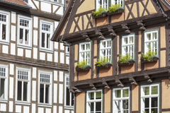 Half-timbered houses in Quedlinburg town, Germany Stock Photo