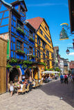 Half-timbered houses in Riquewihr, Alsace region, France Stock Images