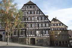 Half-timbered houses Schwaebisch Hall, Germany Royalty Free Stock Photos