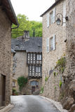 Half timbered houses in Segur-le-Chateau Stock Photography