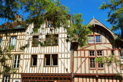 Half-timbered houses in Troyes, France. Some colorful half timbered houses in a row in the old town of Troyes, Aube, Champagne-Ardenne, France royalty free stock photos