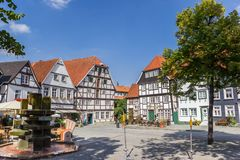 Half timbered houses at the Vreithof market square in Soest. Germany stock photography