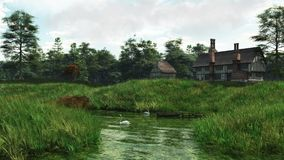 Half-Timbered Lakeside Manor House. Half-timbered traditional English late medieval or Tudor manor house overlooking a quiet lake, 3d digitally rendered Stock Photo