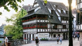 Half-timbered Maison des Tanneurs in Strasbourg stock images
