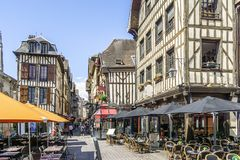 Half timbered medieval houses at market square in charming Troyes, France. Half timbered medieval houses at market square in Troyes, Aube, France stock photography