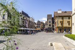Half timbered medieval houses at market square in charming Troyes, France. Half timbered medieval houses at market square in Troyes, Aube, France stock photo