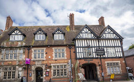 Half Timbered old Coaching Inn in the market town of Sandbach England Royalty Free Stock Images