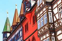 Half-timbered picturesque Old town Hall in Fulda, Germany. Old town Hall in Fulda, Germany.The mighty half-timbered house with its late Gothic arcades can draw Stock Image