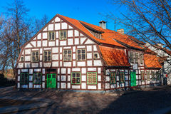 Half-timbered residential vintage house in the old town district, on Piles street. Klaipeda city, Lithuania. Royalty Free Stock Photos
