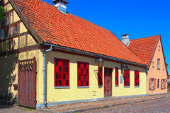 Half-timbered residential vintage house in the old town district, on Piles street. Klaipeda city, Lithuania. Stock Photography