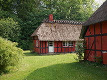 Half-timbered thatched roof house Denmark. Traditional vintage country style half-timbered thatched roof house Denmark Royalty Free Stock Image