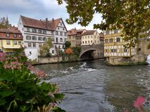 Half-timbered town hall in the middle of the river royalty free stock photography