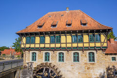 Half timbered Watermill building in Steinfurt Stock Photo