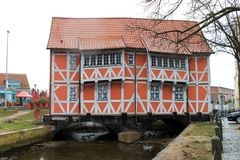A half-timebered house in Wismar. Royalty Free Stock Photo