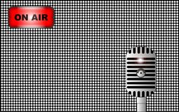 Live on Air Microphone Background. A half tone background with radio on air sign and broadcast valve microphone Stock Photography